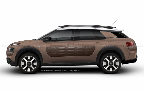 illustration Citroën C4 Cactus break vue de profil par Didier RIC
