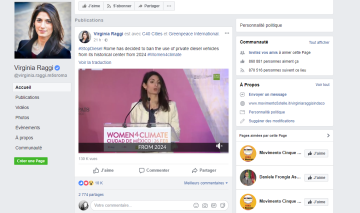 capture écran profil facebook virginia raggi